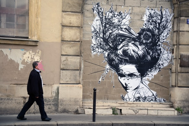 Several New Street Art Pieces By French Artist Monsieur Qui On The Streets Of Paris, France. 3